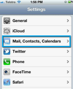 open setting in add account in iphone