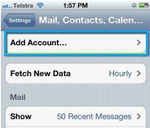 setting for iphone email