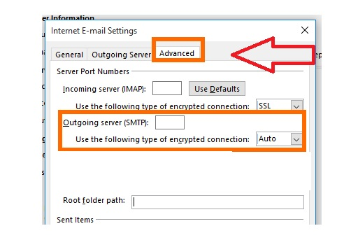 AOL mail setup in outlook- incoming server IMAP and outgoing server SMTP
