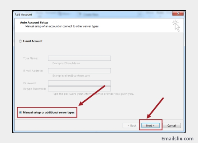 Choose-Manual-Set-up-Frontier Email Settings for Outlook 2016