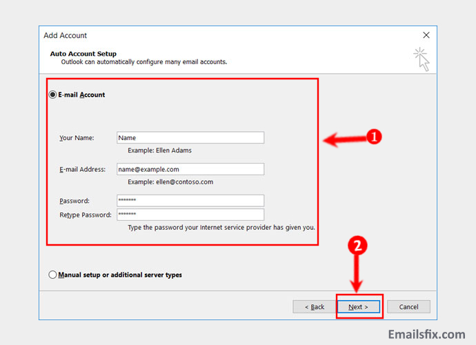 Fill Details and click next-ATT.Net Email Settings For Outlook 2013