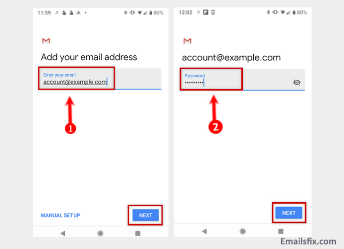 Fill-the-details-1and1 Email Server Settings For Android