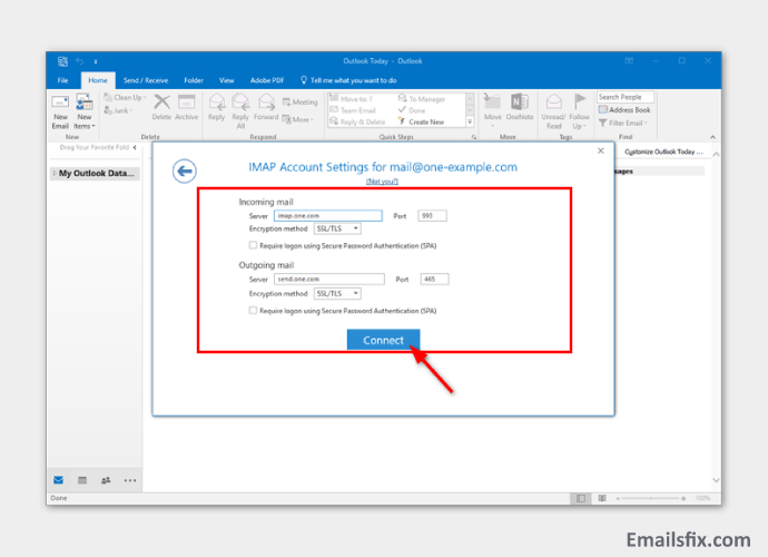 Imap Settings - ATT Email Settings for Outlook 2016