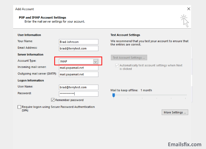 Select IMAP and Enter Email Password-1and1 Email Settings For Outlook 2013