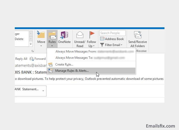 Manage Rules-How to create rules in Outlook 2016