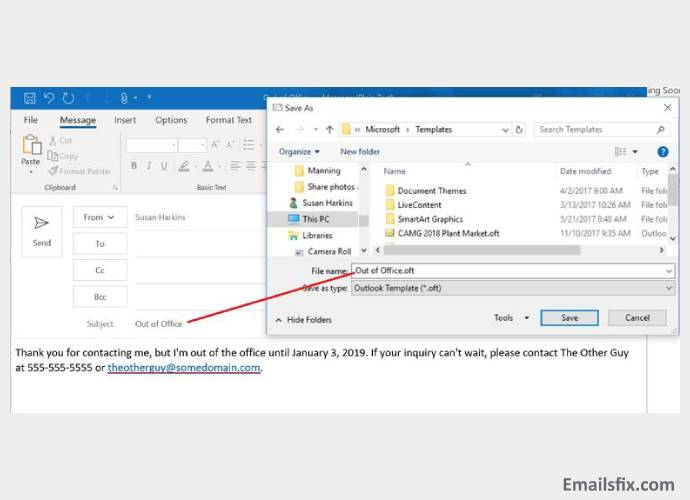 how to set out of office in outlook