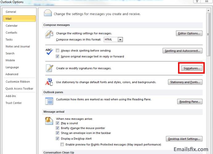 Click On signature-How to add signature in outlook 2010