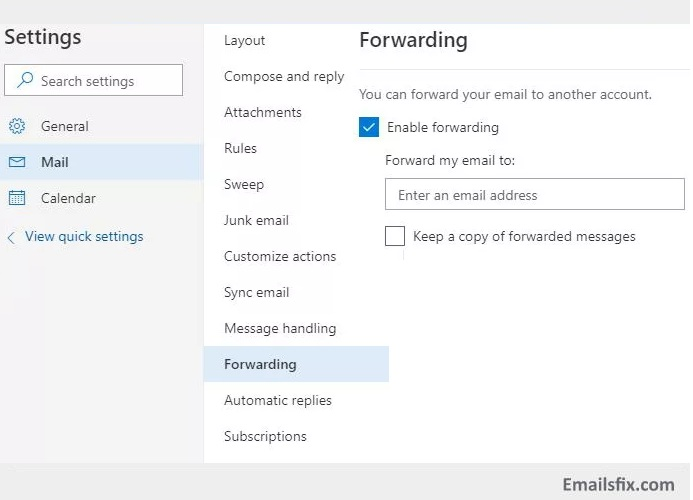 Select 'Enable forwarding' - how to forward emails from outlook