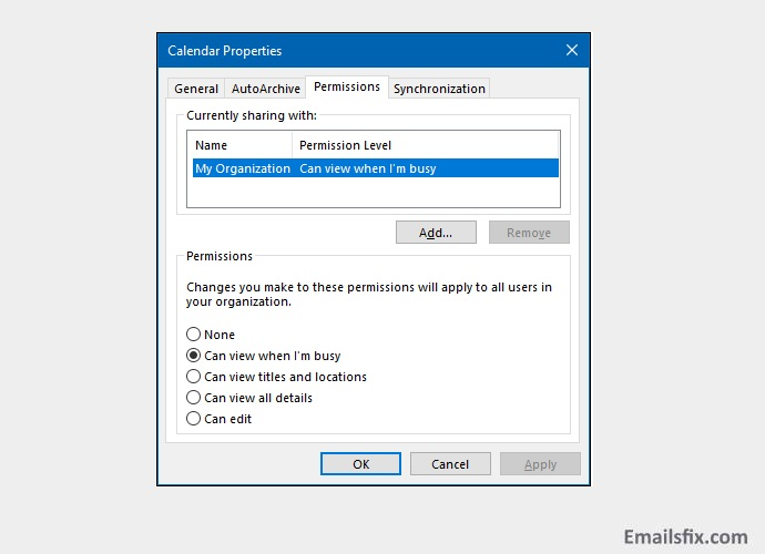 Select 'Can view when I am busy'- how to create a shared calendar in outlook 2016
