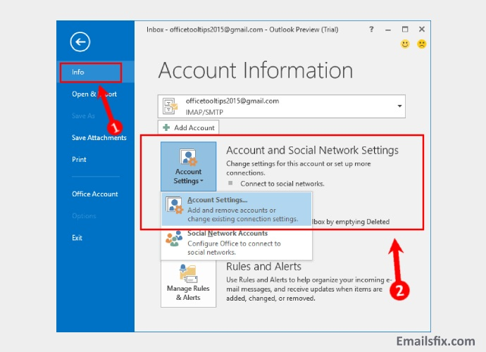 Select 'Account Settings' - CenturyLink Email Server Settings For Outlook