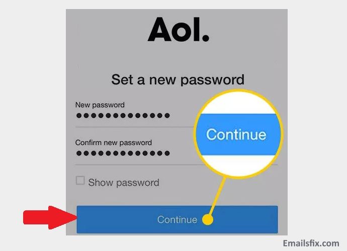 "Click ""Continue"" button - change AOL password iPhone"