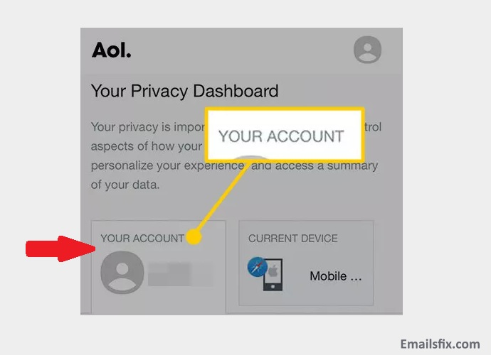 "Click on ""your account"" - change AOL password iPhone"