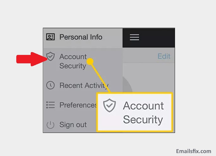 "Option of ""Account security"". - change AOL password iPhone"