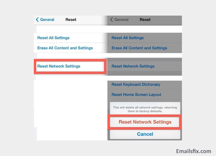Reset the Network Settings- select Network reset options