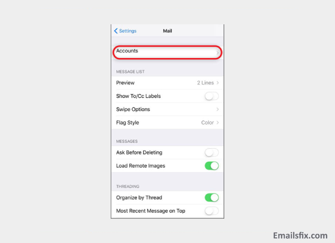 Accounts - setting up Wowway email on iphone