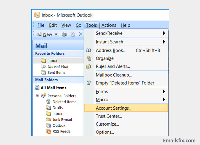 Account settings - Singnet email settings for outlook 2016